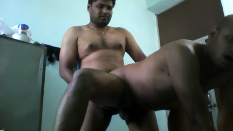 Desi gay sex video of a chubby bear with his bald lover