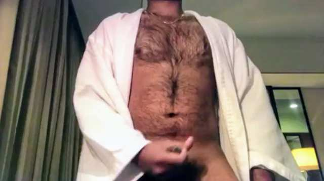 Indian gay video of a hairy horny hunk jerking off his big desi cock and cumming hard