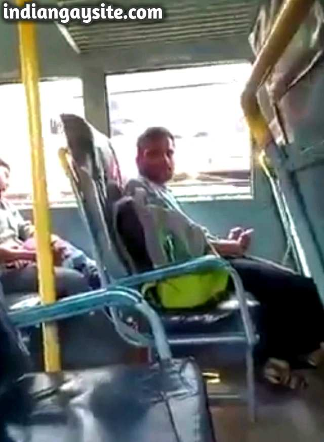 Indian gay video of a horny guy from Kerala masturbating his huge cock in public bus and cumming