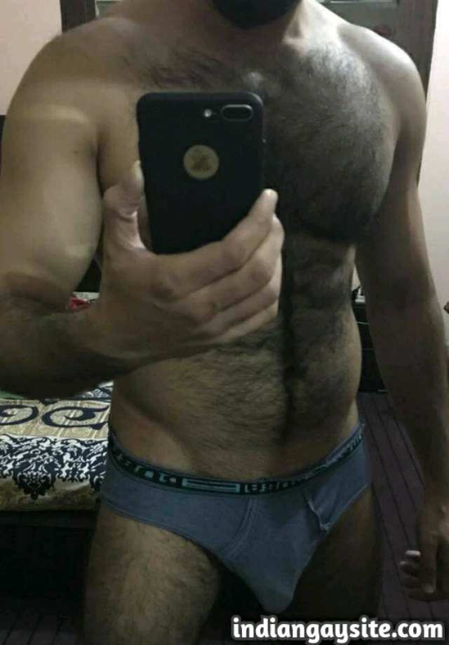 Indian Gay Porn: Sexy desi hairy bull showing off his hunky body and big hard cock