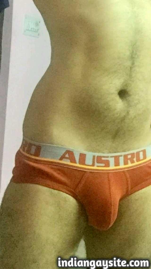 Indian Gay Porn: Sexy desi hunk teasing with his big and hard desi cock