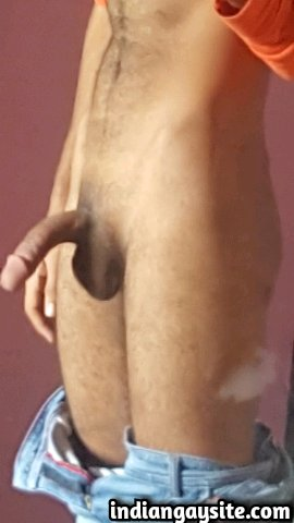 Indian Gay Porn: Sexy desi twink showing off his huge circumcised dick in briefs and without