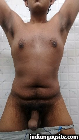 Indian Gay Porn: Slutty desi guy exposing his curvy body in various poses and jerking off