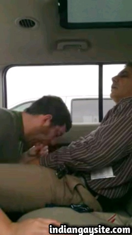 Amateur gay blowjob video of a mature Pakistani man using a young white cum dump in his car