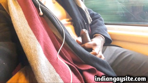 Indian gay video of a horny and wild NRI hunk jerking off in the train