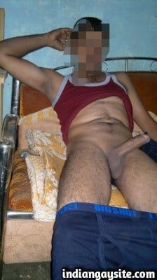 Sexy desi hunk strips naked to show his huge cock
