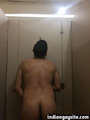Desi gay bottom strips naked in a mall washroom
