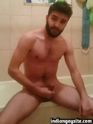 Gay porn video of Paki hunk cumming in bathroom
