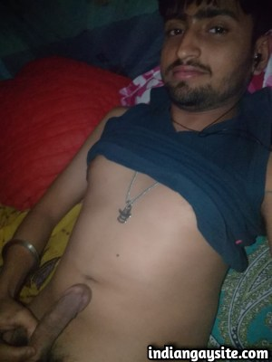 Naked desi hunk with a long and hard cock at night