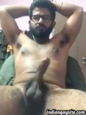 Desi Hunk Masturbating his Big Uncut Cock Naked
