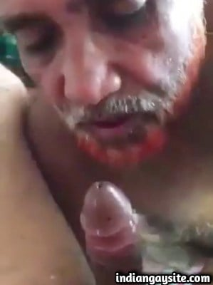 Gay Old Man Sucking Twink's Hard Cock