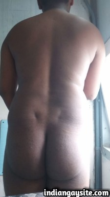 Naked Indian Bottom Shows Smooth Ass & Hairy Chest