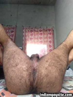 hairy indian hunk shows round furry butt cheeks indian