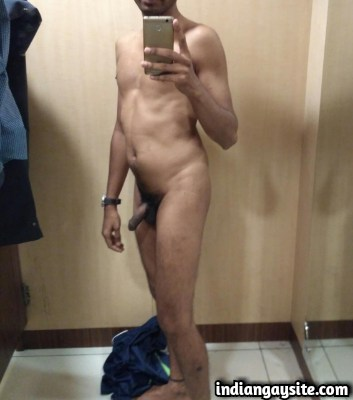 Naked Indian Hunk Stripping in Changing Room