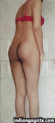 Naked Indian Crossdresser in Bra shows Hot Ass