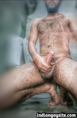 Hairy Indian Hunk Shows Big Cock & Bubbly Booty