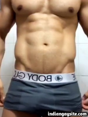 Sexy Hunk Teases Body in Boxers in Indian Gay Video