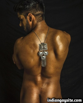Naked Indian Male Model Posing Seductively for Photoshoot