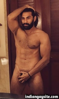 Naked Indian Model Shows Hairy Body in Boxers
