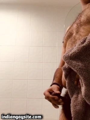 Horny Indian Bear Playing with Small Dick after Shower