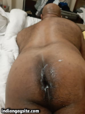 Indian Gay Porn Pics of Slutty Bottom's Cum Soaked Ass