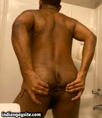 Hairy Indian Gay Bottom Shows Tight Ass Hole