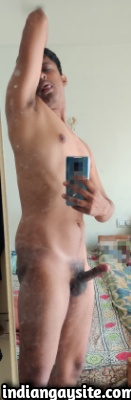 Naked Indian Hunk Posing in the Mirror & Being Slutty