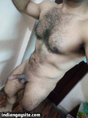 Muscular Hairy Indian Hunk Exposes Big Dick in Bulging Briefs