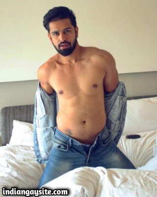 Hot Indian Stud Stripping Naked on Bed