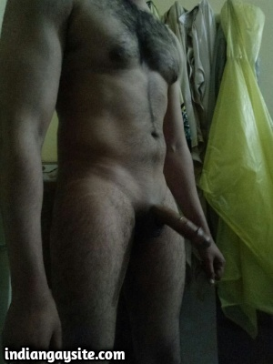 Hairy Indian Hunk Stripping Naked to Show Huge Lund