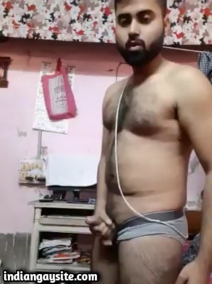 Horny Hunk Strips & Jerks Hard in Indian Gay Video
