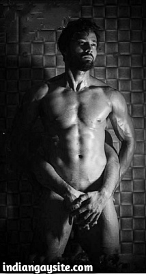 Nude Indian Hunk Shows Muscular Body & Hairy Crotch