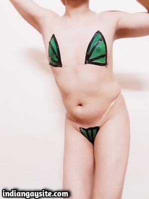 Sexy Indian Crossdresser Exposing Smooth Body in Bikini