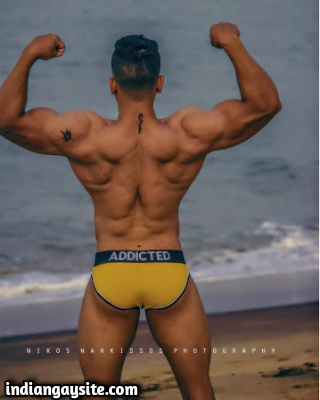 Muscular Indian Hunk in Briefs in the Beach