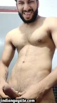 Bearded Hunk Playing with Cock in Indian Gay Video