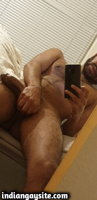 Hairy Indian Hunk Shows Huge Cut Cock
