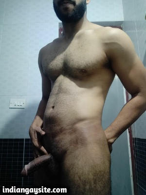 Horny Indian Hunk Showing Big Circumcised Cock