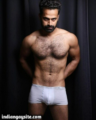 Hairy Indian Model in a Sexy Photoshoot with Boxers