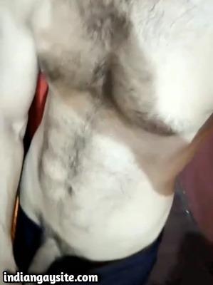 Desi Gay Porn Video of Hairy Hunk Teasing Cock