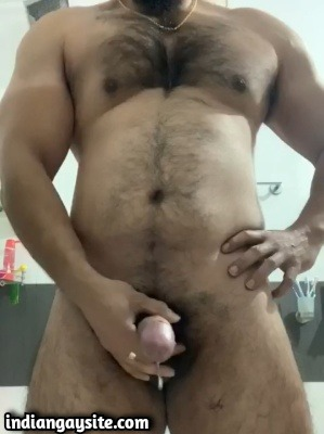 Hairy Stud Cums Wildly in Indian Gay Video