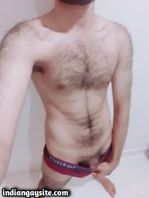 Hairy Indian Hunk Teasing Big Cock in Briefs