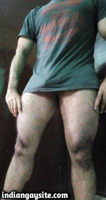 Indian Muscular Stud Showing Big Bulge in Tees