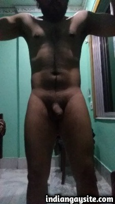 Horny Muscular Indian Hunk Flexing with Hard Cock