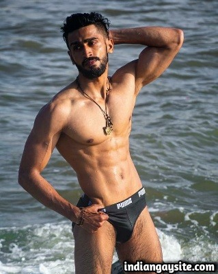 Muscular Indian Hunk Posing Naked in Wet Briefs