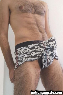 Hairy Punjabi Hunk Shows Huge Lund in Sexy Boxers