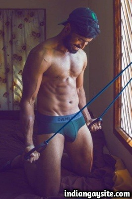 Muscular Indian Hunk Flexing & Posing in Briefs