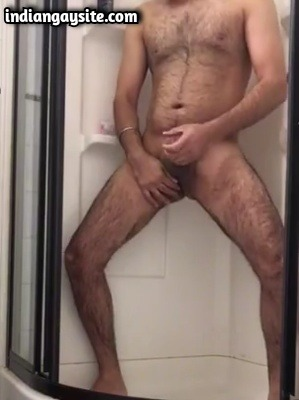 Hairy Indian Bear Wanking & Fingering in Shower