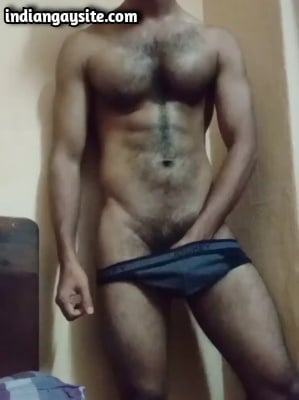 Hairy Indian Hunk Rubs Jockey Bulge on Cam