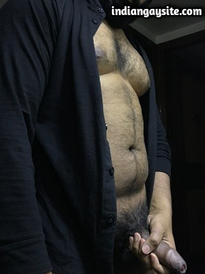 Gay Indian Bear in Open Shirt with Big Hard Cock