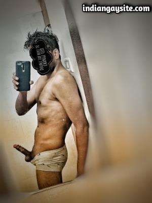 Naked Desi Hunk Shows Big Hard Cock